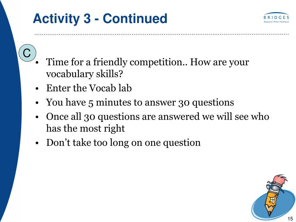 Activity 3 - Continued