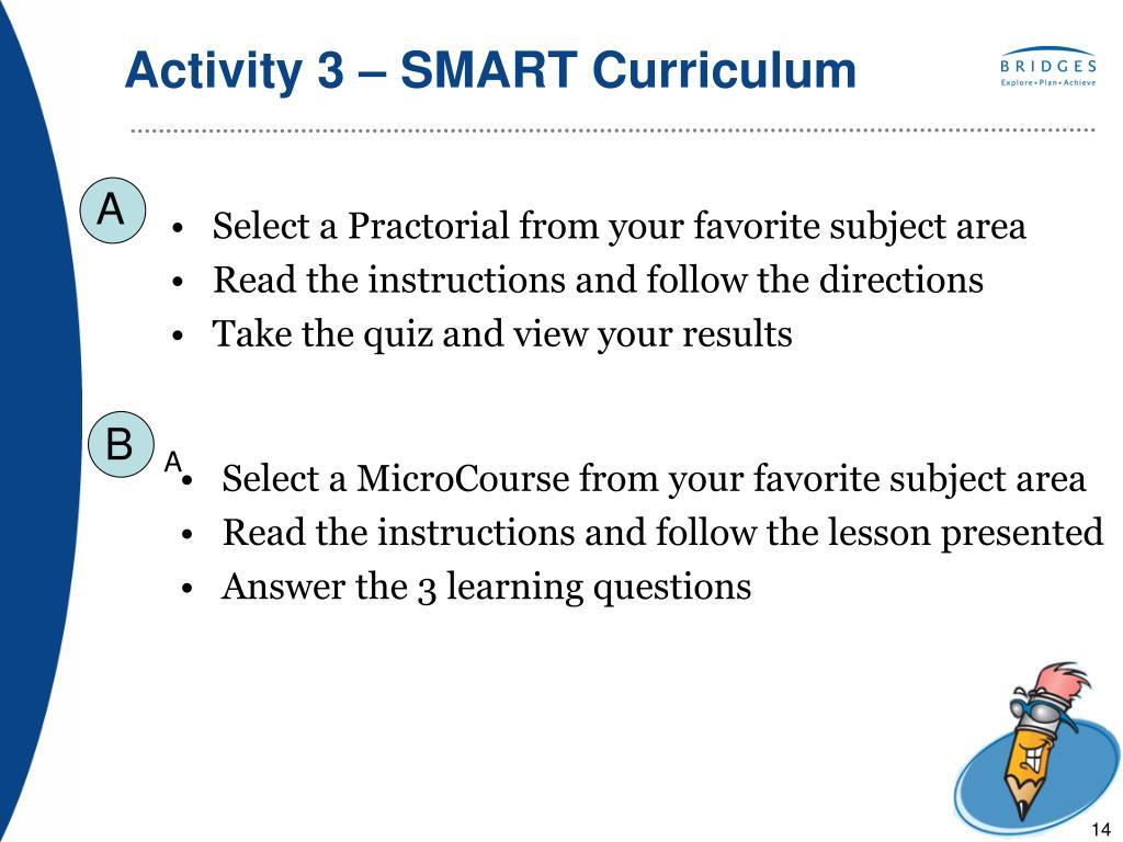 Activity 3 – SMART Curriculum