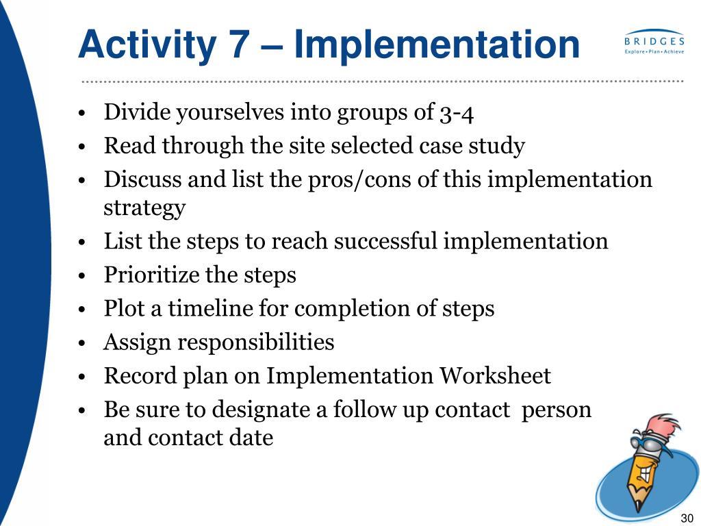Activity 7 – Implementation