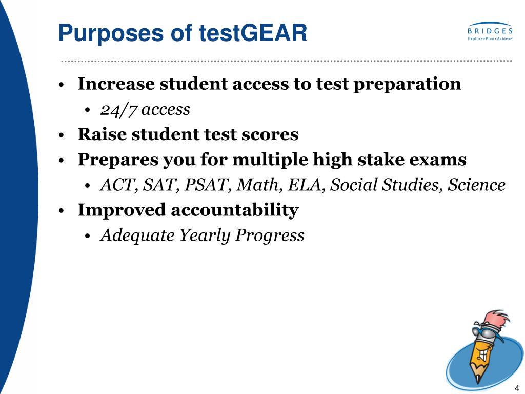 Purposes of testGEAR