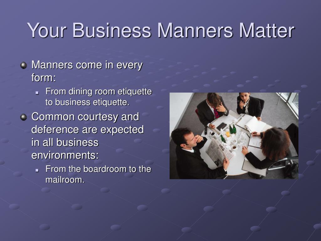 business etiquette and manners