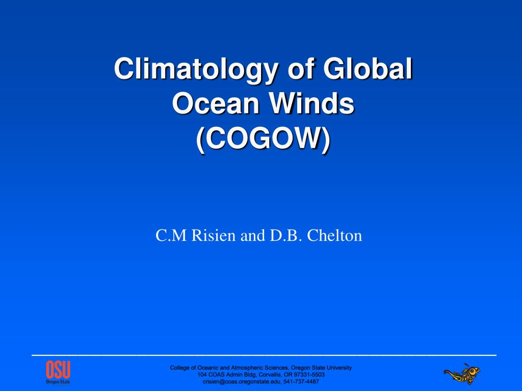 climatology of global ocean winds cogow