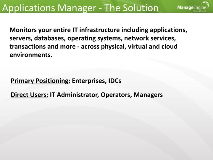 Applications Manager - The Solution