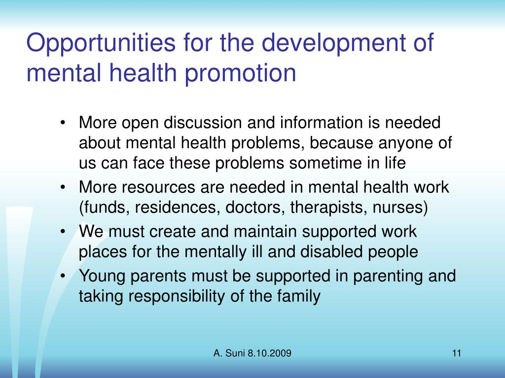 Opportunities for the development of mental health promotion