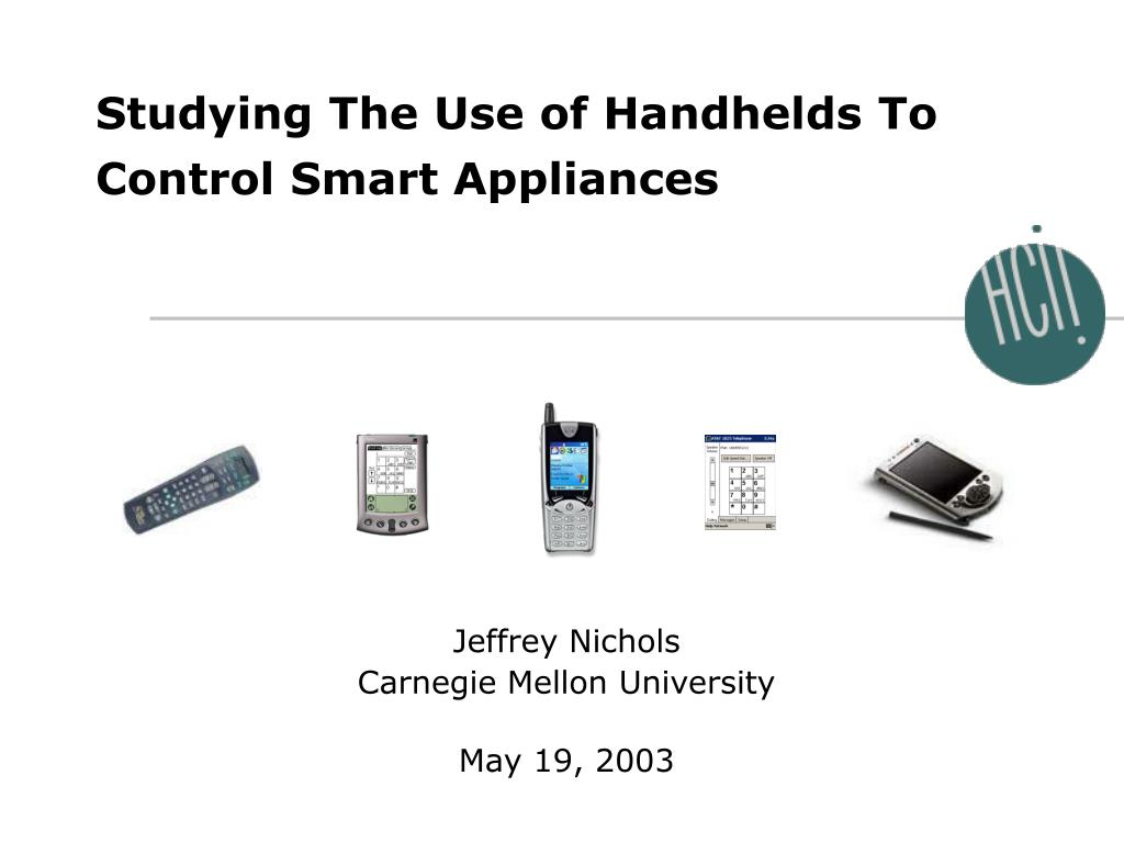 studying the use of handhelds to control smart appliances l.