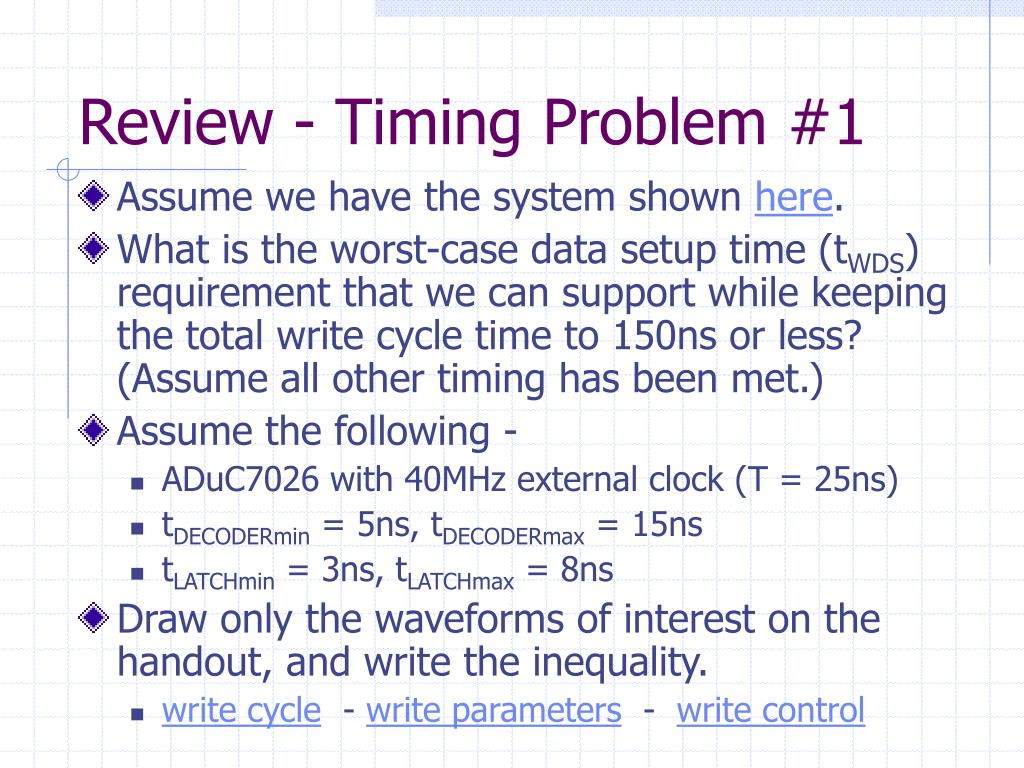 Review - Timing Problem #1