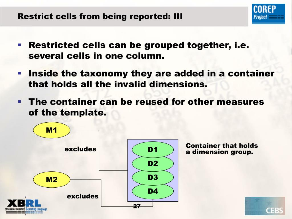 Restrict cells from being reported: III