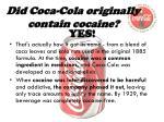 did coca cola originally contain cocaine