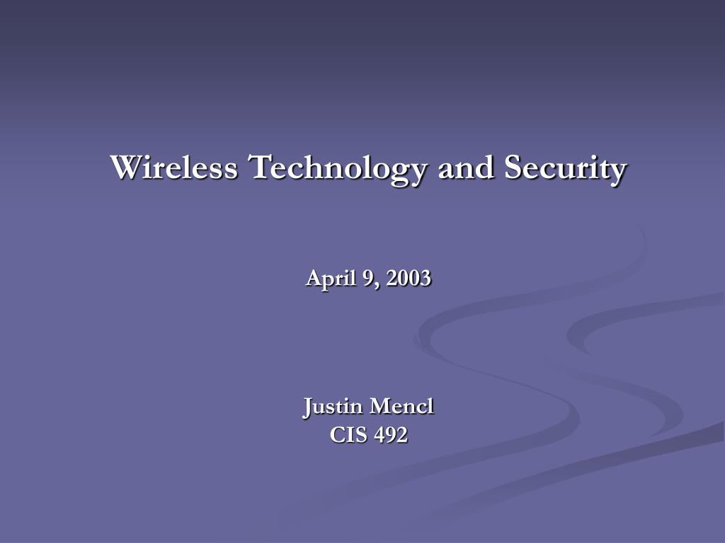 wireless technology and security l.