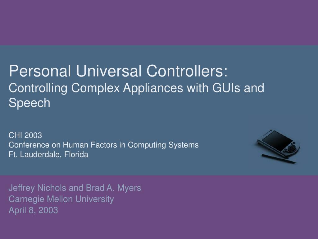 personal universal controllers controlling complex appliances with guis and speech