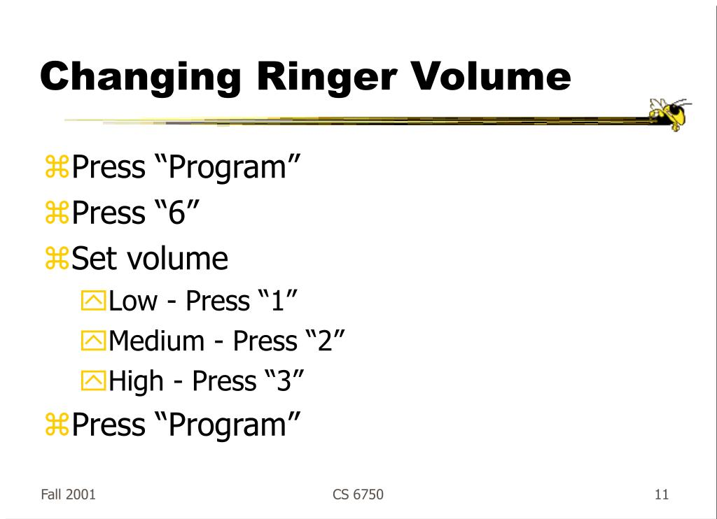 Changing Ringer Volume