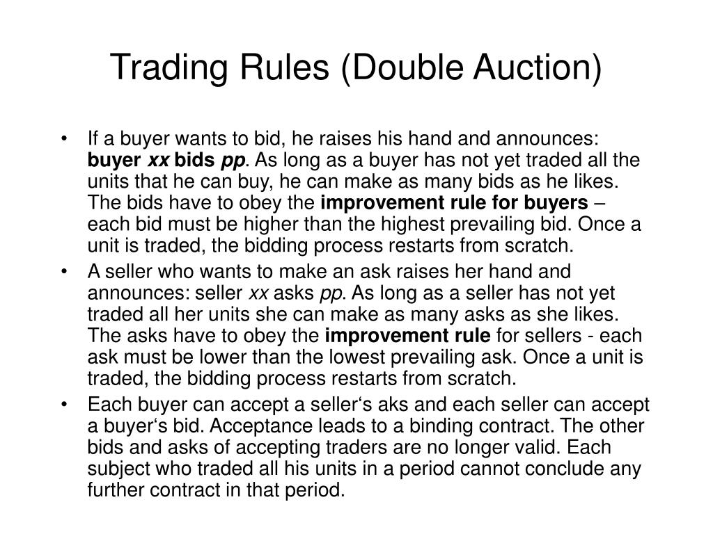 Trading Rules (Double Auction)