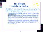 the horizon coordinate system14