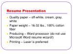 resume presentation
