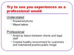 try to see you experiences as a professional would