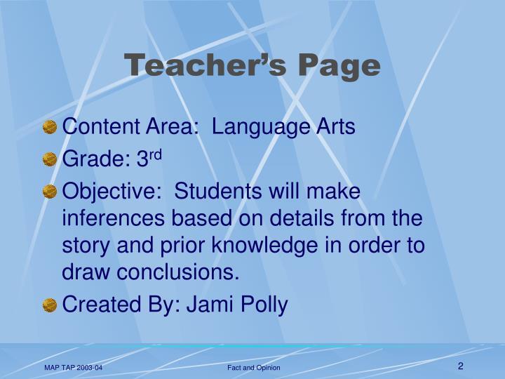 Teacher s page