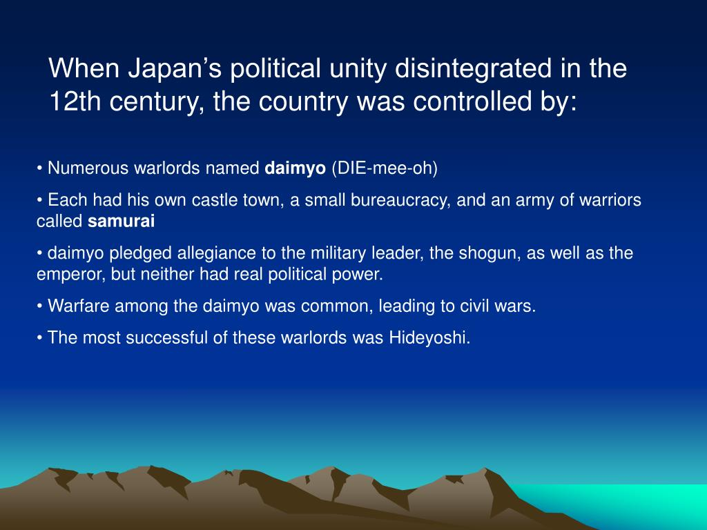 When Japan's political unity disintegrated in the 12th century, the country was controlled by: