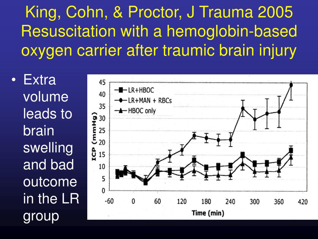 King, Cohn, & Proctor, J Trauma 2005 Resuscitation with a hemoglobin-based oxygen carrier after traumic brain injury