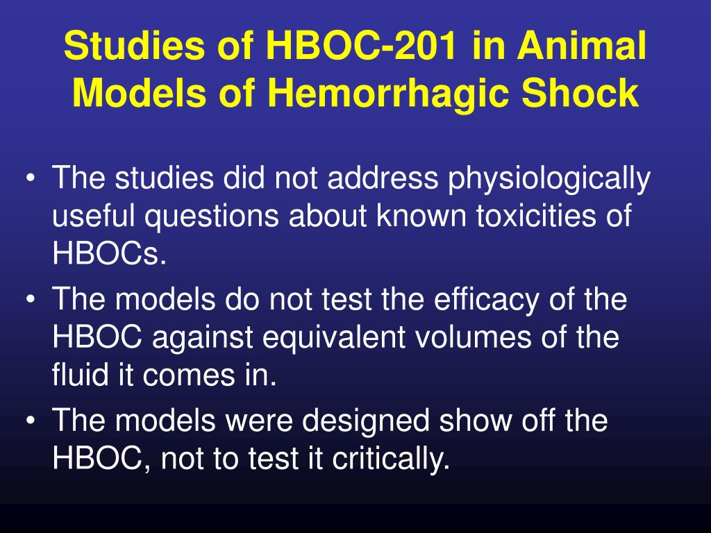 Studies of HBOC-201 in Animal Models of Hemorrhagic Shock