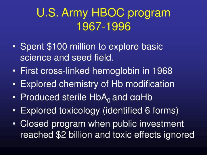 U s army hboc program 1967 1996