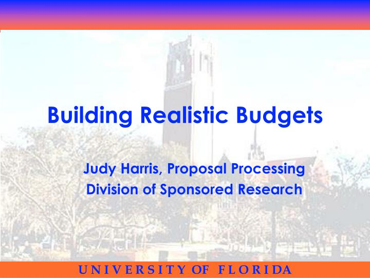 building realistic budgets n.