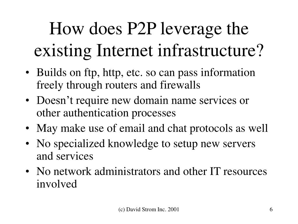 How does P2P leverage the existing Internet infrastructure?