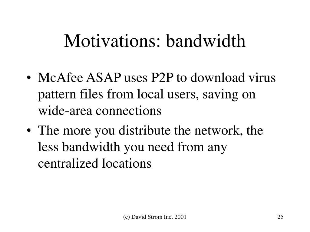 Motivations: bandwidth