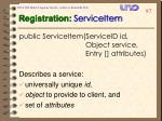 registration serviceitem