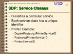 sdp service classes