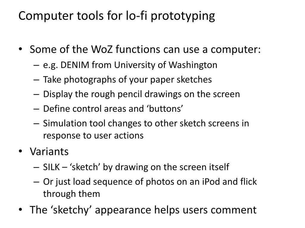 Computer tools for lo-fi prototyping