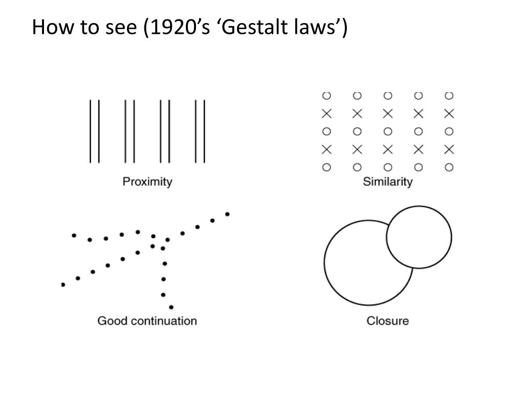 How to see (1920's 'Gestalt laws')