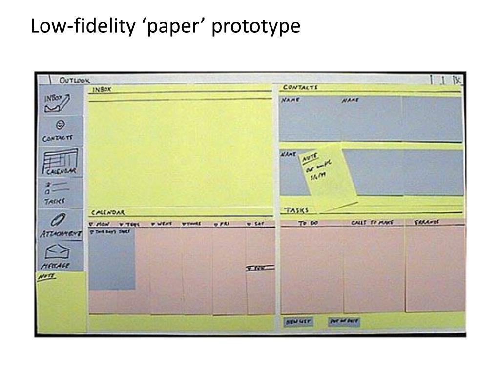 Low-fidelity 'paper' prototype