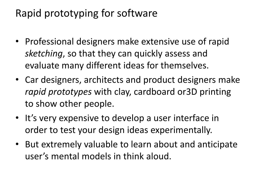 Rapid prototyping for software
