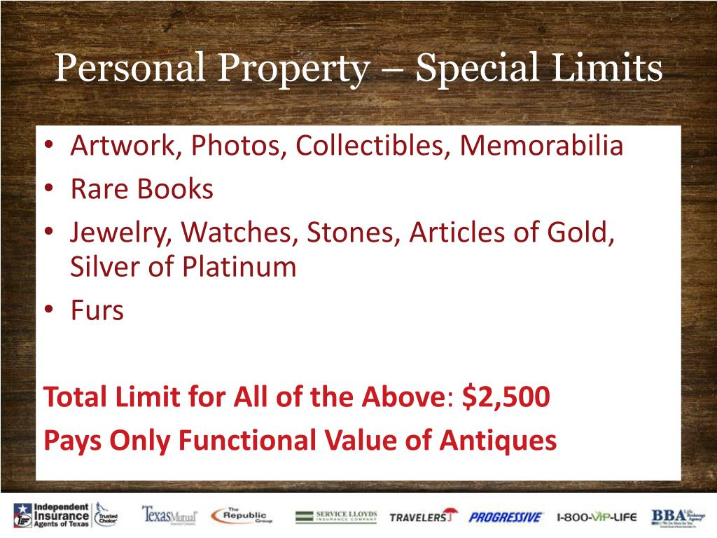 Personal Property – Special Limits