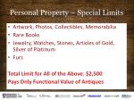 personal property special limits