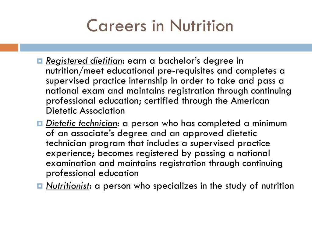 Careers in Nutrition
