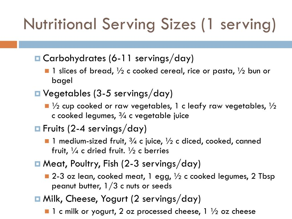 Nutritional Serving Sizes (1 serving)