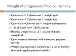 weight management physical activity