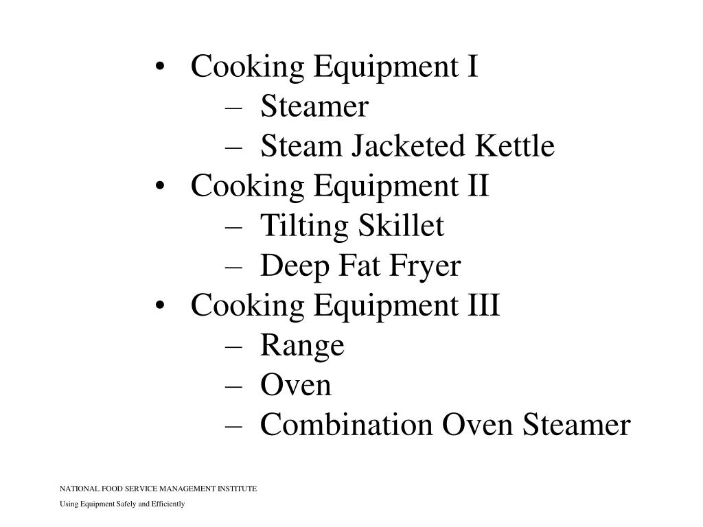 Cooking Equipment I
