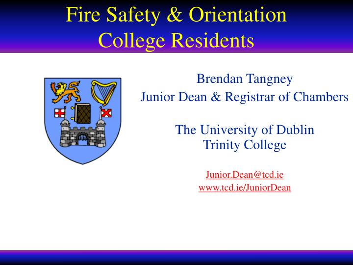 Fire safety orientation college residents
