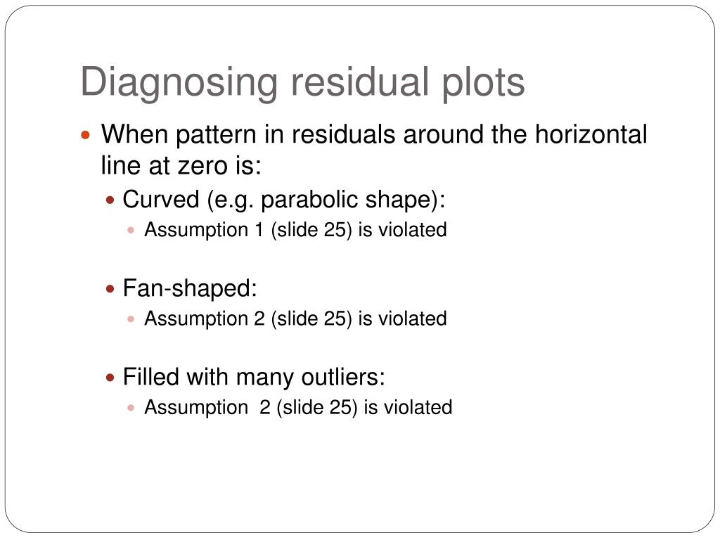 Diagnosing residual plots