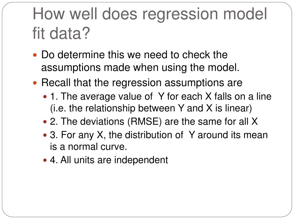 How well does regression model fit data?
