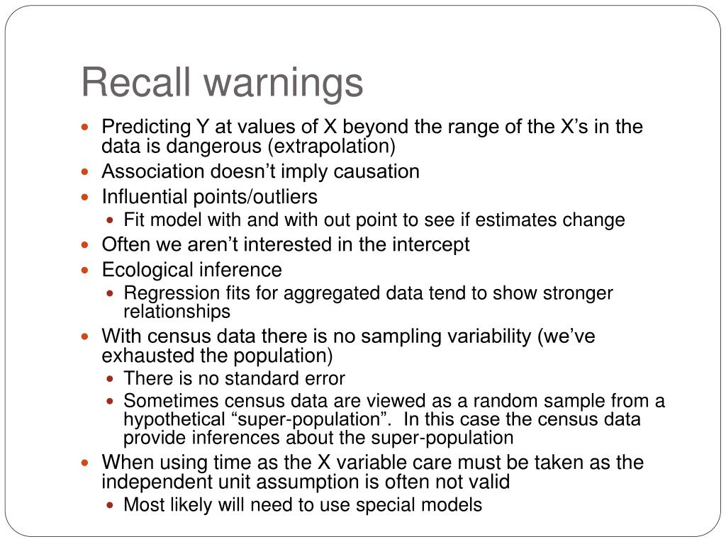 Recall warnings