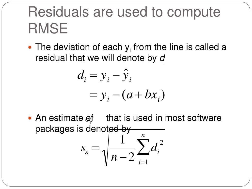 Residuals are used to compute RMSE