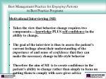 best management practice for engaging patients in best practice programs27