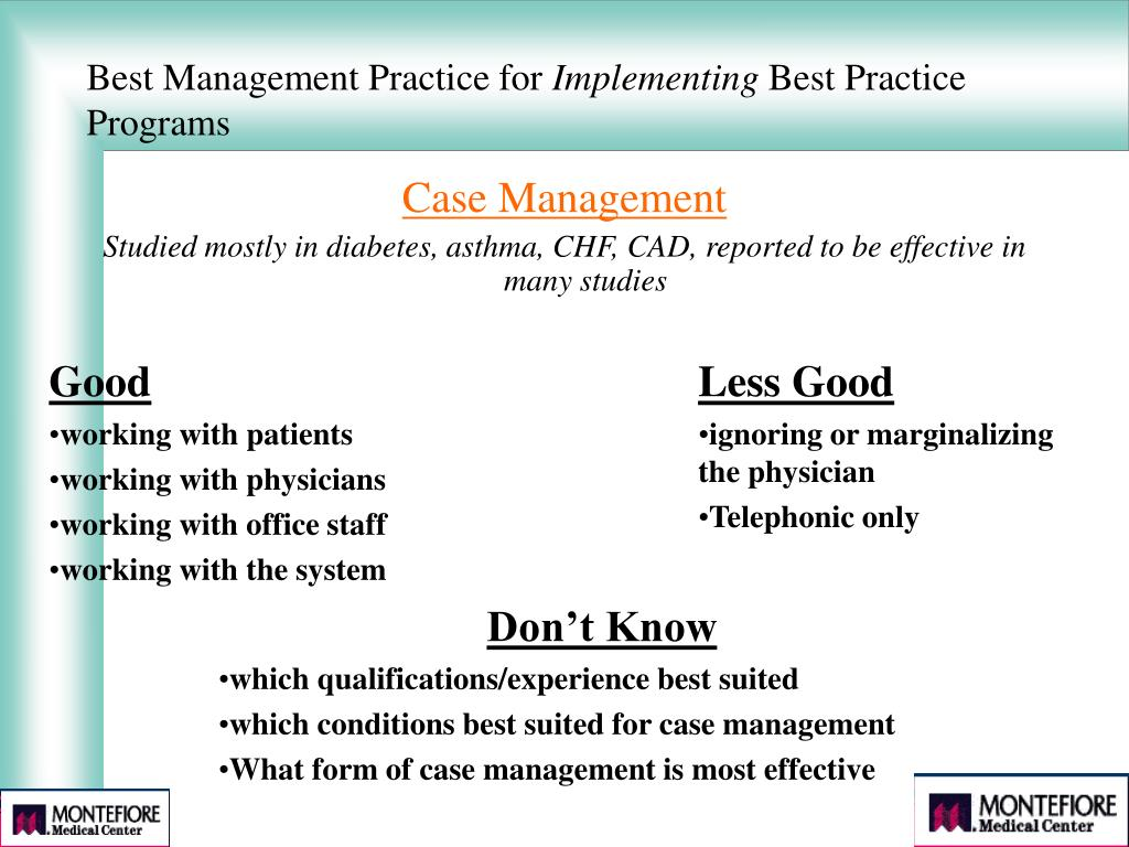 Best Management Practice for
