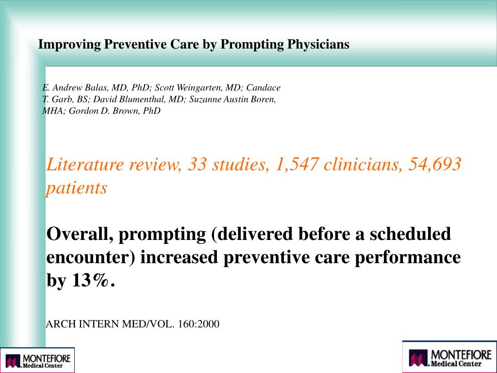 Improving Preventive Care by Prompting Physicians