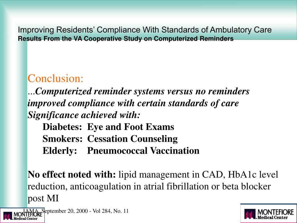 Improving Residents' Compliance With Standards of Ambulatory Care