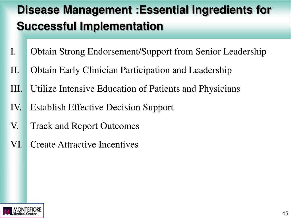 Disease Management :Essential Ingredients for Successful Implementation