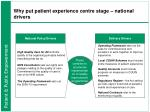 why put patient experience centre stage national drivers